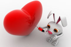 3d rabbit giving injection to big red heart concept Stock Photography