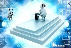 3d rabbit giving speech only one rabbit illustration Royalty Free Stock Photo