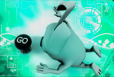 3d rabbit with go button illustration Stock Image