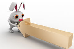 3d  rabbit with golden arrow concept Stock Image
