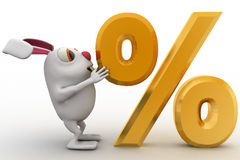 3d rabbit with golden percentage symbol concept Royalty Free Stock Image