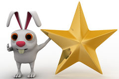 3d rabbit with golden star concept Royalty Free Stock Photo
