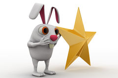 3d rabbit with golden star concept Stock Photo