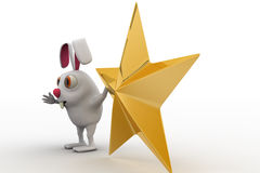 3d rabbit with golden star concept Royalty Free Stock Photography