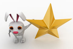 3d rabbit with golden star concept Royalty Free Stock Photos