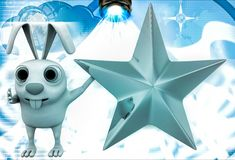 3d rabbit with golden star illustration Stock Images
