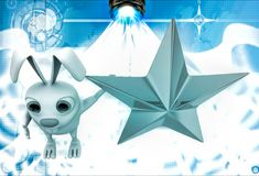 3d rabbit with golden star illustration Stock Image