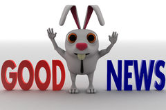 3d rabbit with good news text and looks happy concept Royalty Free Stock Photography