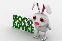 3d rabbit with green good advice text concept Royalty Free Stock Photography