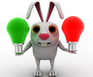 3d rabbit with green and red bulb concept Stock Images
