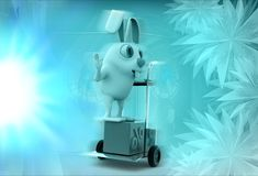 3d rabbit with handtruck illustration Royalty Free Stock Image