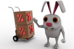 3d rabbit with handtruck and percent box concept Royalty Free Stock Image