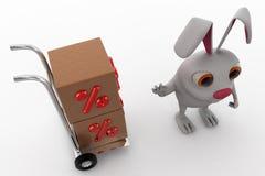3d rabbit with handtruck and percent box concept Stock Photos