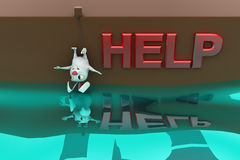 3d rabbit hanging down and asking for help concept Royalty Free Stock Photography