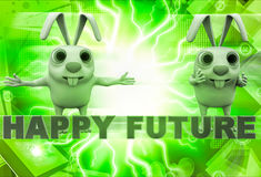 3d rabbit with happy future text illustration Royalty Free Stock Photography