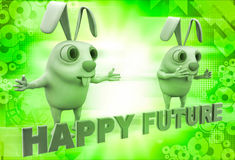 3d rabbit with happy future text illustration Royalty Free Stock Photo