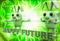 3d rabbit with happy future text illustration Royalty Free Stock Image