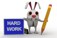 3d rabbit with hard work board and pencil concept Royalty Free Stock Image