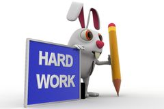 3d rabbit with hard work board and pencil concept Stock Images