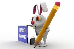 3d rabbit with hard work board and pencil concept Royalty Free Stock Photos