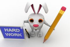 3d rabbit with hard work board and pencil concept Stock Image