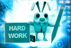 3d rabbit with hard work board and pencil illustration Stock Photos