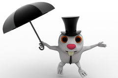 3d rabbit with hat and umbrella concept Royalty Free Stock Image