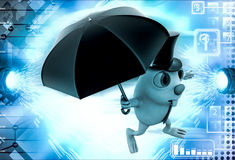 3d rabbit with hat and umbrella illustration Stock Images