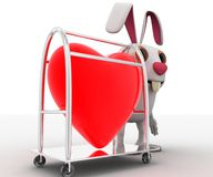 3d rabbit with heart in trolley concept Royalty Free Stock Photos