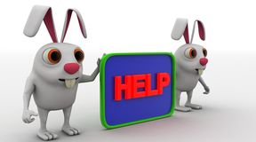 3d rabbit with help board concept Stock Photos