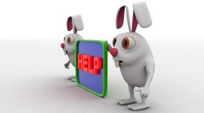 3d rabbit with help board concept Stock Images