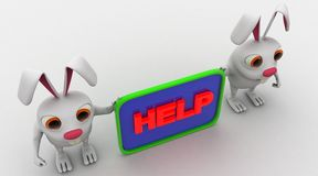 3d rabbit with help board concept Royalty Free Stock Photo