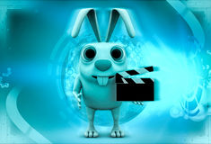 3d rabbit holding clapper in hands to start cinema shooting illustration Royalty Free Stock Photo