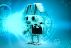 3d rabbit holding clapper in hands to start cinema shooting illustration Stock Images