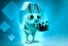 3d rabbit holding clapper in hands to start cinema shooting illustration Stock Photography