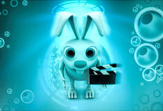 3d rabbit holding clapper in hands to start cinema shooting illustration Royalty Free Stock Images
