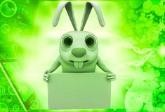 3d rabbit holding empty abstract board in hands illustration Royalty Free Stock Photography