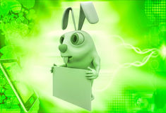 3d rabbit holding empty abstract board in hands illustration Royalty Free Stock Image