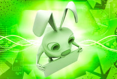 3d rabbit holding empty abstract board in hands illustration Stock Photography