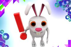 3d rabbit holding exclamation mark illustration Royalty Free Stock Photos
