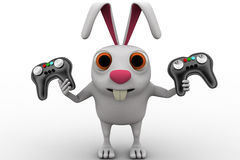 3d rabbit holding gaming console remote control concept Royalty Free Stock Photos