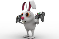 3d rabbit holding gaming console remote control concept Royalty Free Stock Photography