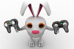 3d rabbit holding gaming console remote control concept Royalty Free Stock Photo