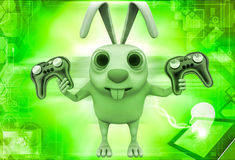 3d rabbit holding gaming console remote control illustration Stock Photography
