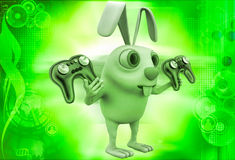 3d rabbit holding gaming console remote control illustration Royalty Free Stock Photos