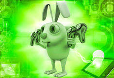 3d rabbit holding gaming console remote control illustration Royalty Free Stock Image
