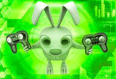 3d rabbit holding gaming console remote control illustration Royalty Free Stock Images