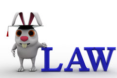3d rabbit holding law degree concept Stock Photography