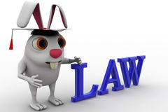3d rabbit holding law degree concept Stock Image
