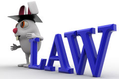 3d rabbit holding law degree concept Royalty Free Stock Photography
